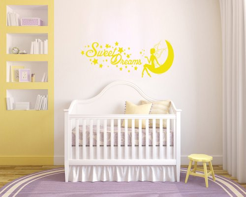 Housewares Vinyl Decal Fairy Princess On Moon Sweet Dreams Phrase Home Wall Art Decor Removable Stylish Sticker Mural Unique Design For Nursery Bed Room front-1045780