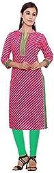 ROY KURTIS Women's Cotton Regular Fit Kurti (Queen_lehriya-1_M, Red, M)