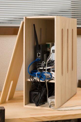 ひかり電話対応ルーター&タップ収納 ナチュラル 桐天然木 日本製 IW-0030