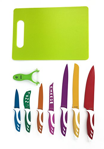 Homeopro Colorful Kitchen Knife Sets, Premium Quality Stainless Steel Blade with Exclusive Gift Box, Perfect Use for Meats, Vegetables, Breads-