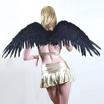 SACAS Large Black Feather Angel Fairy Wings w/ Free Halo for Halloween Costume