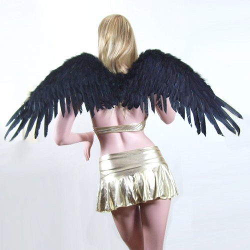 SACAS Large Black Feather Angel Fairy Wings w/ Free Halo for Halloween