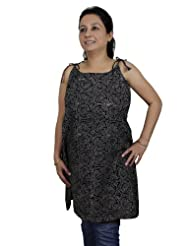 Spaghetti Strap Tank Tops Kurti For Women In Block Print Handloom Woven Cotton