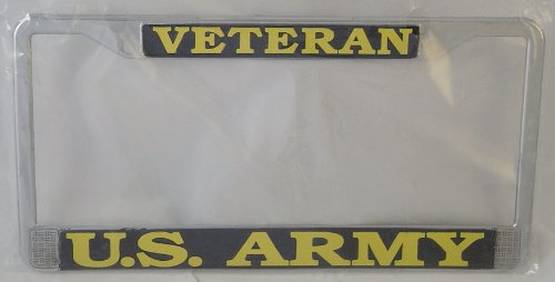 US Army Veteran License Plate Frame (Chrome Metal) (License Plate Frames Military compare prices)