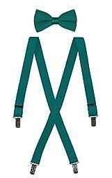 Bow Tie and Suspender Set Combo in Men\'s & Kids Sizes (40\