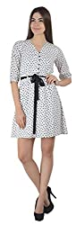 Guster Ve .. Women's Button UP Gather Dress(White,XL)
