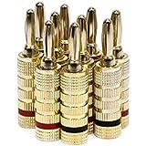 Monoprice 109436 High-Quality Copper Speaker Banana Plugs-5-Pair, Closed Screw Type