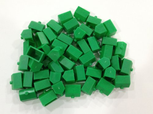 Plastic Hotels: Green Color Monopoly Replacement Hotel (Colored Miniature Town & City Buildings, Board Game Playing Pieces)