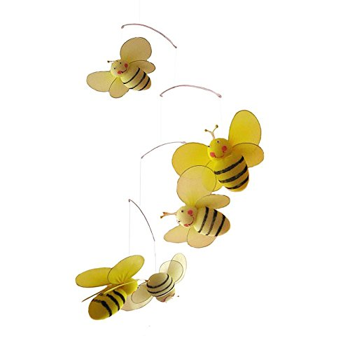The Butterfly Grove Bailey Bumblebee Mobile Hanging Mesh Nylon Decor, Yellow Daffodil - 1