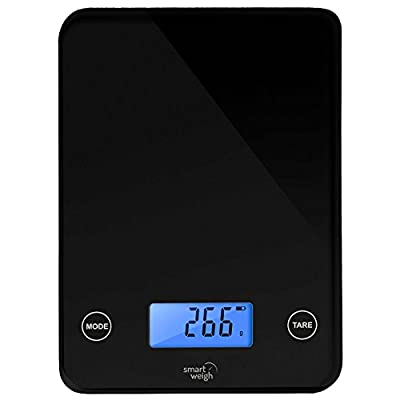 Smart Weigh Digital Kitchen Scale with Glass Top, Audible Touch Buttons, 5-unit Modes, Liquid Measurement Technology