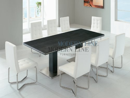 Buy Low Price Modern Line Furniture Contemporary Dark Wenge Wood Dining Table With 8 White
