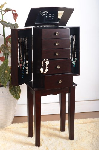 Lowest Prices! Espresso Jewelry Armoire Chest