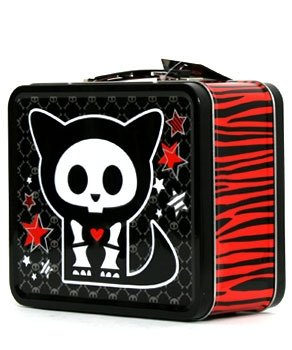 Skelanimals Kit the Cat Red & Black Zebra Lunch Box Lunchbox