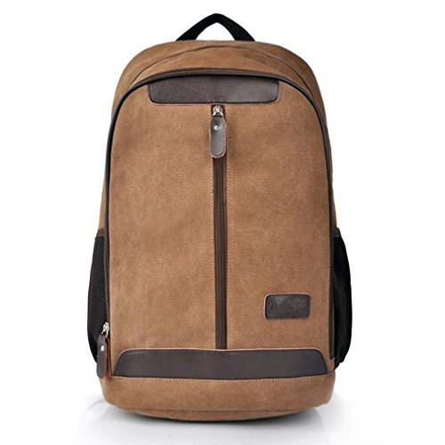 Men'S Retro Canvas College Casual All Cotton Thick Computer Backpacks Travel Bag Pocket Coffe Fit For 15' Laptop