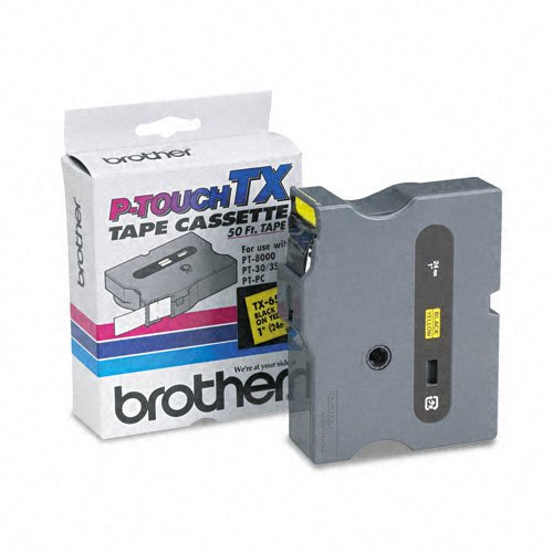 Brother P-Touch Products - Brother P-Touch - TX Tape Cartridge for PT-8000, PT-PC, PT-30/35, 1w, Black on Yellow - Sold As 1 Each - Ideal for high-production label making, with fewer re-supply situations. - Perfect for indoor and outdoor use on smooth, fl
