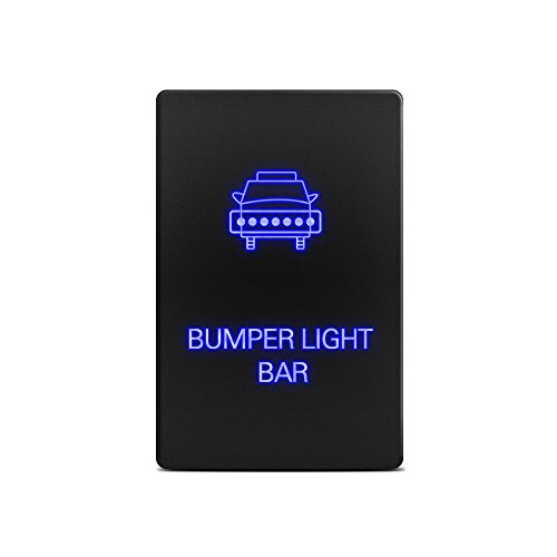 MICTUNING [New] LED Push Button Switch with Connector Wire Kit for Toyota - Laser Etched BUMPER LIGHT BAR Symbol - Blue (Toyota Prado Lights compare prices)