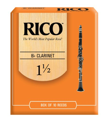 Rico Bb Clarinet Reeds, Strength 1.5, 10-pack