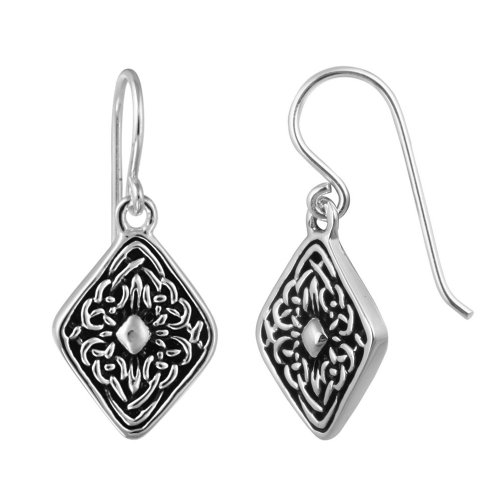 Sterling Silver Designed Oxidized Diamond-Shape French Wire Earrings