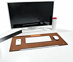 House of Quirk Multifunctional Protective Felt Mat ,Laptop Keyboard Mouse Felt Pad with Paper and Pen Pocket For Desktops (BROWN)