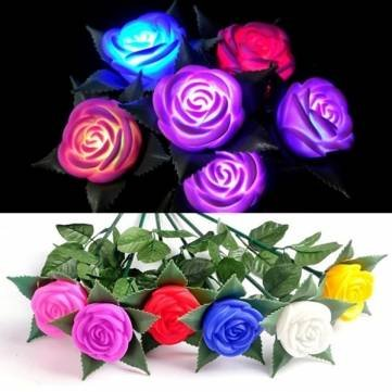Colors Changing Rose LED Lights Outdoor Yard Garden Flower Lamp Simulation Rose