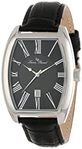 Lucien Piccard Men's 10029-01 Grivola Ortlet Black Dial Black Leather Watch