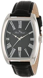 Lucien Piccard Men's 10029-01 Grivola Ortlet Black Dial Black Leather Watch