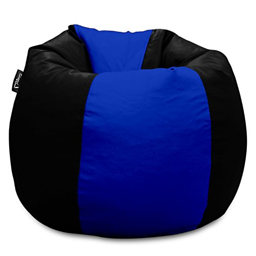 Story@Home GIANT Designer Recliner Bean Bag -BLUE - BLACK Faux Leather Bean Bag Chair - XXL Seriously Man Size Bean Bags Cover Only Without Beans