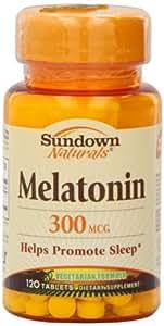 Sundown Naturals Melatonin, 300 mcg, Tablets, 120 tablets (Pack of 6)
