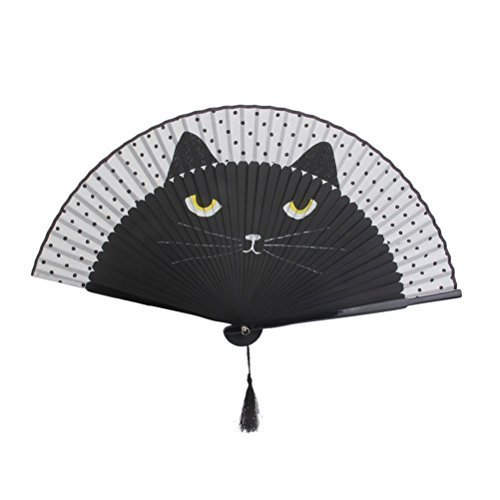 Tinksky Women Cartoon Cat Folding Silk Fan Handheld Fan (Black)