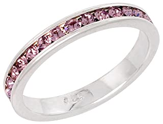 Sterling Silver Eternity Band, w/ June Birthstone, Alexandrite Crystals, 1/8 inch (3 mm) wide, size 6.5