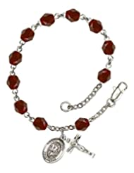 Solid Silver-Plated Rosary Bracelet 6mm Garnet Fire Polished beads Religious Cross Crucifix 5/8 x 1/4 charm a... Coupon 2015