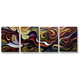 Neron Art - Handpainted Abstract Oil Painting on Gallery Wrapped Canvas Group of 4 pieces - Cleveland 64X24 inch (163X61 cm)