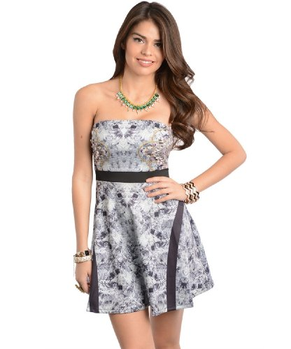 2Luv Women'S Kaleidoscope Fit And Flare Strapless Dress Gray S(A8070)