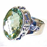 Sara Blaine Sterling Silver Oval Green Amethyst Cocktail Ring Size 8