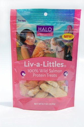 Halo Liv-a-Littles Natural Treats for Dogs and Cats, Freeze-Dried Wild Salmon Protein, 0.7oz