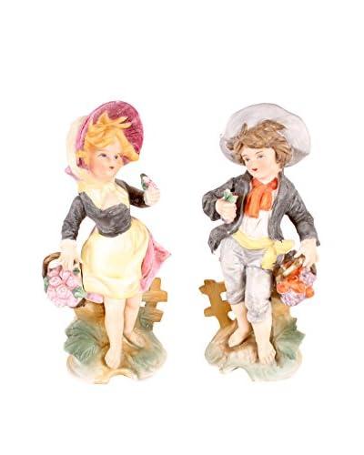French Farm Girl & Boy Figurines