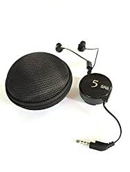 BLAU FÃœNF Tangle Free Retractable Stereo Earphone with Mic and Clip Zipper Pouch, Coal Black
