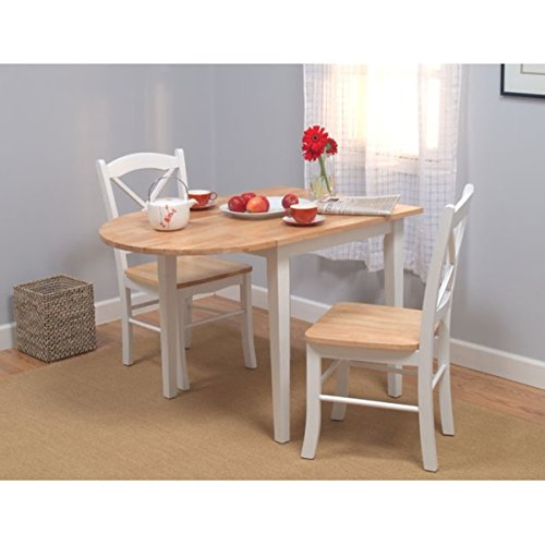 This Small Dining Set Includes a Drop Leaf Tabletop and 2 Wood Chairs