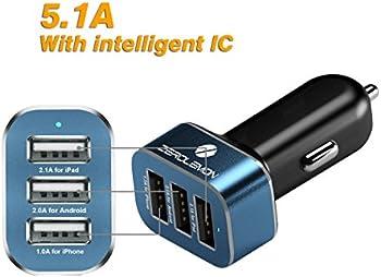 ZeroLemon 25.5W 3-Port USB Car Charger