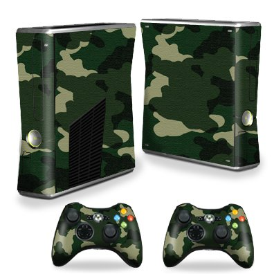Protective Vinyl Skin Decal Cover for Microsoft Xbox 360 S Slim + 2 Controller Skins Sticker Skins Green Camo