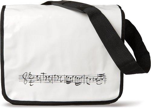 Sac à partitions blanc avec portée de notes noire en tissus plastifié