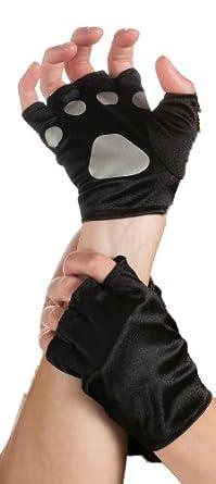 Rubie's Costume Cat Paws Fingerless Gloves, Black/Gray, One Size