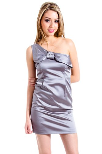 T.O.V. One Shoulder Dress in Silver