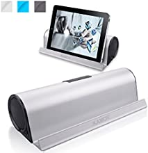 Kamor® Tragbare Bluetooth Lautsprecher Reisegröße mit Cradle, Powered Subwoofer, Unglaubliche 10 Stunden Wiedergabedauer, Aufladbarer Bluetooth Lautsprecher für iPhone 6 / 6 Plus / 5S / 5 / 4S, iPad Mini 3 / mini 2 / mini, iPad Air 2 / Air, iPad 2 3 4, iPod, itouch, Samsung Galaxy S5 / S4 / S3 / Note 4 / Note 3, LG Nexus 5 / G3 / G2 / Exalt, Sony Xperia Z2, HTC One M8, Nokia Lumia 520, Smartphones, Tablets PC, Laptops, Ultrabook and Mp3 Player - Silber