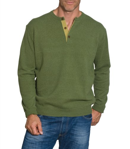 Mens Lambswool Button Neck Jumper Moss/Olivine Large