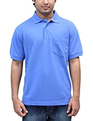 Romano Men's Polo Neck Blue Cotton T-Shirt - B00V4V4T74
