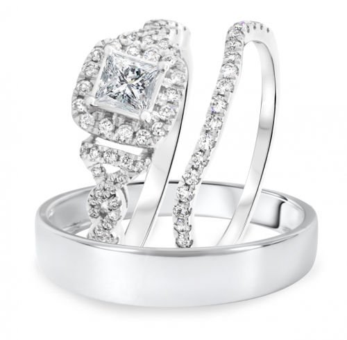 Vorra Fashion 3/4 Ct Princess CZ Trio Wedding Ring Sets Solid Platinum Plated .925 Steling Silver