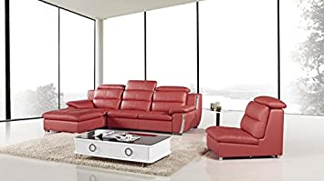 3pc Modern Contemporary Adjustable Sectional Leather Sofa Set - AM-L729-RD