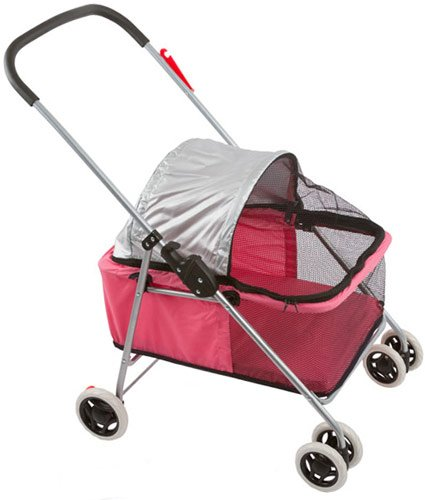 Small Pink Basket-Style Folding Pet Carrier Stroller front-66931