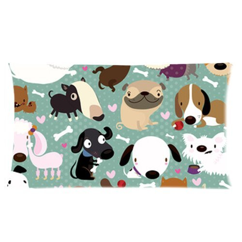 Cartoon Dog Pet Puppy Collection Custom Rectangle Bed Pillow Cases 20X36 (Twin Sides)